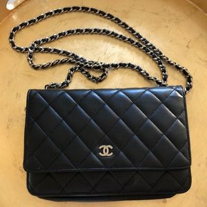 Chanel black Lambskin Wallet on Chain